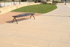 Lake Highlands Town Center Dallas, TX Integrally Colored Concrete Sidewalk with Sawcut Pattern
